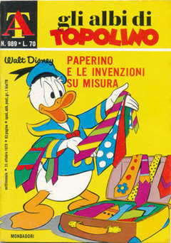 Copertina ALBI DI TOPOLINO n.989 - Paperino e le invenzione su misura, MONDADORI EDITORE