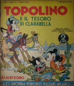 Copertina GLI ALBI D'ORO n.15 - TOPOLINO E IL TESORO DI CLARABELLA, MONDADORI EDITORE